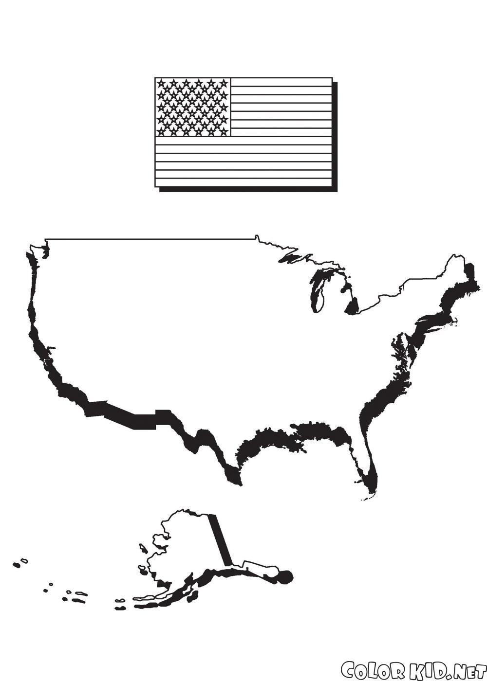 アメリカと国旗と地図