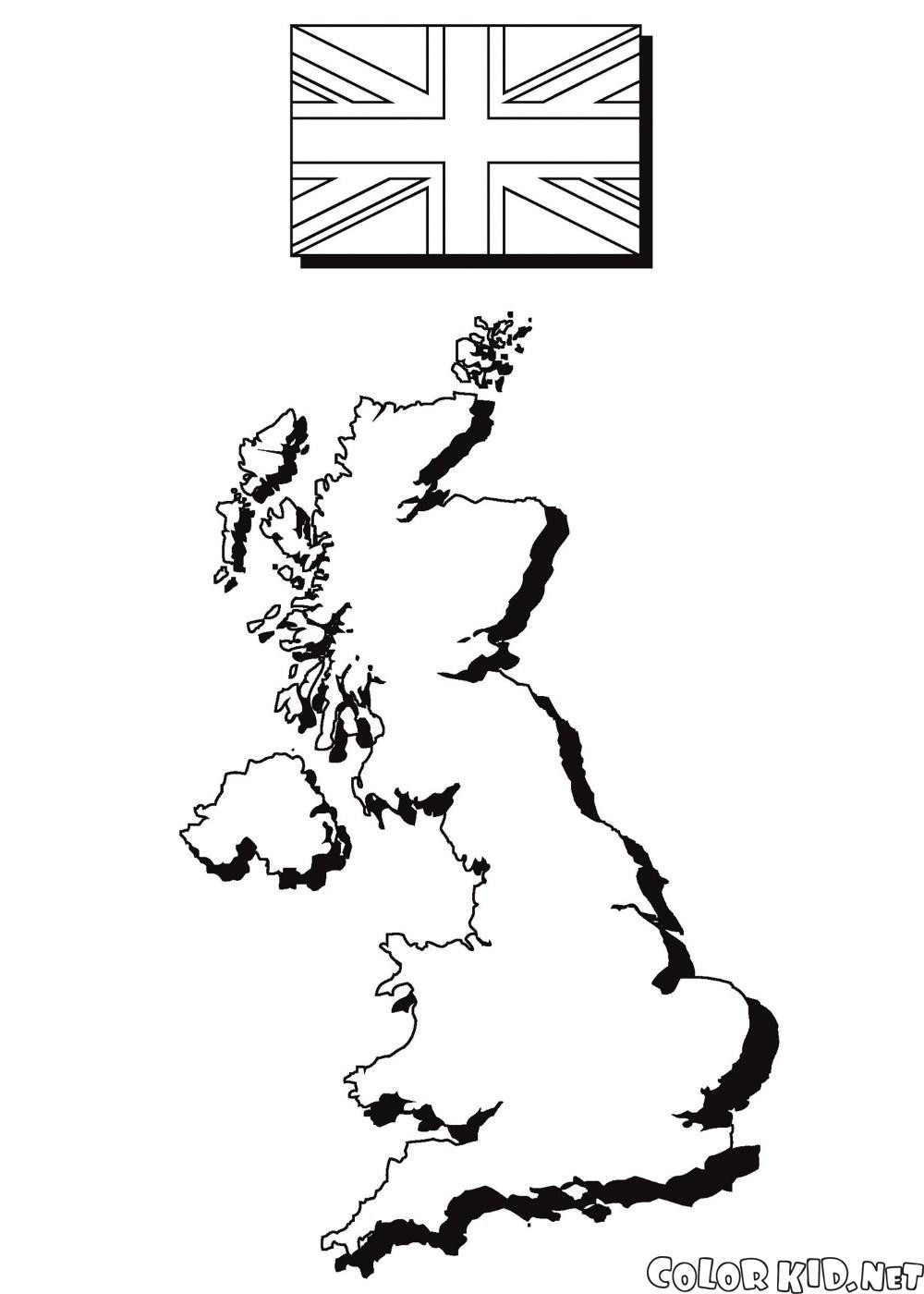 イギリスの地図と国旗