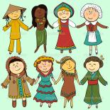 伝統的な服を着た子どもたち